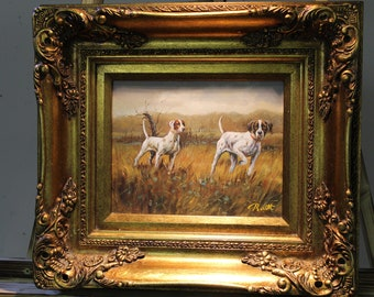 XXX English pointer xxx at the hunt. Oil painting on wooden panel with frame.