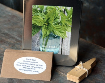 Heirloom Basil Collection, Three Varieties of Basil Seeds, Indoor Herb Garden, Heirloom Herb Seeds, Organic Herbs, Great Hostess Gift