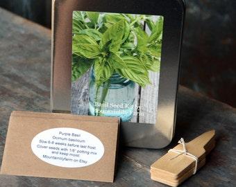 Heirloom Basil Collection, Three Varieties of Basil Seeds, Indoor Herb Garden, Heirloom Herb Seeds, Organic Herbs, Great Hostess Gift