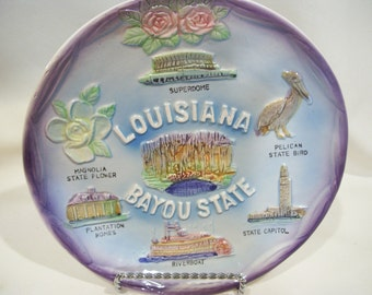 Louisiana Bayou State Collector's Plate Travel Souvenir Plate Superdome Magnolia Pelican Vintage State Plate