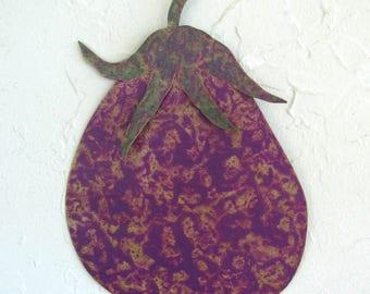 Metal Wall Art Eggplant Sculpture Vegetable Decor - Eggplant - Recycled Metal Kitchen Wall Decor Purple 7 x 10