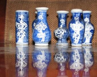 Blue & White mini vases cherry blossom design