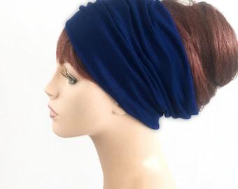 Navy Blue Turban Head Band, Yoga headband, Wide Headband, Exercise Headband, Pretied Turban, 298-42a