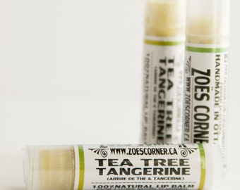Lip Balm -Tea Tree Tangerine- Handmade + Natural