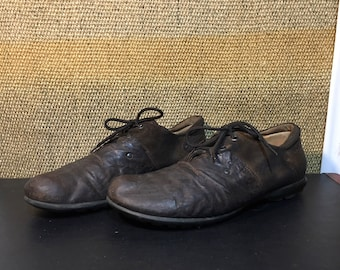 Vintage Brown Leather And Suede Lace Up Shoes Size EUR 47 / US man 13 / UK man 12 1/2