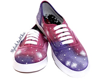 Pink and Purple Galaxy Shoes - Hand Painted