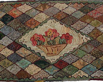 Compote With Camellias floral rug hooking pattern on linen//geometric diamonds