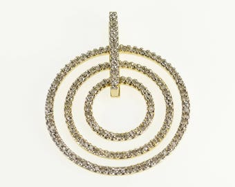 10k Tiered Circle Diamond Inset Encrusted Pendant Gold