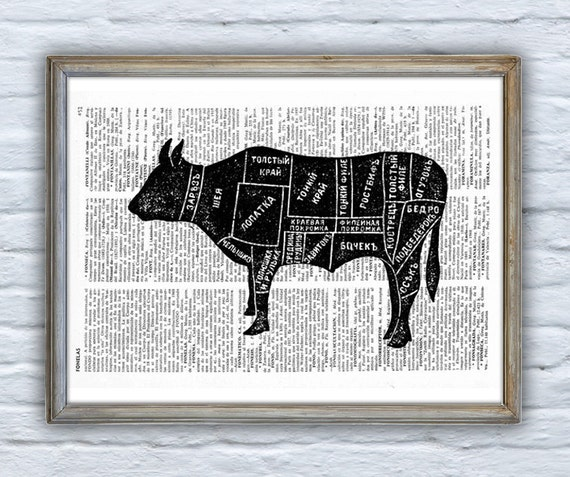 Russian Beef, cuts Kitchen art, Wall art, Wall decor, Digital prints animal, Giclée, Vintage Book sheet, Nursery, Prints, Wholesale  ANI159