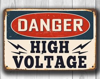 DANGER HIGH VOLTAGE Sign, Danger Sign, Vintage style High Voltage Sign, Danger Signs, Outdoor Signs, Custom Danger Sign, High Voltage Sign