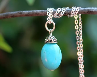 Turquoise Stone Pendant Necklace.Sterling Silver Chain.Blue.Statement.Dainty.Beadcap.Bridal.Mother's.Boho.Layering.Gift.Summer. Handmade.
