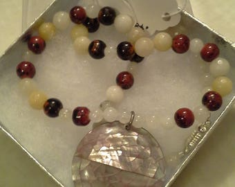 Natural Jade Necklace w/ MOP drop