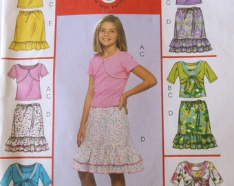 Easy Pattern Girls Top and Skirt Mccalls M5038 Girls ShrugsTank Top and Skirts Pattern Size 7,8,10,