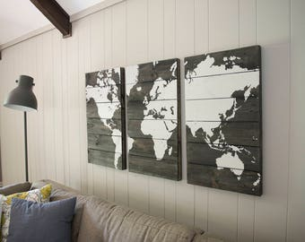 World Map-Black and Gray