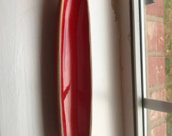 Vintage Ceramic Red Hand Painted  Olive Dish, Great for Dish or Trinkets or Stationary