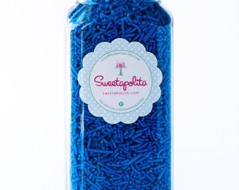 8oz (1 cup) Bright Blue Jimmies, Vegan, Gluten-Free, Sugar Strands, Blue Sprinkles, Canadian Sprinkles