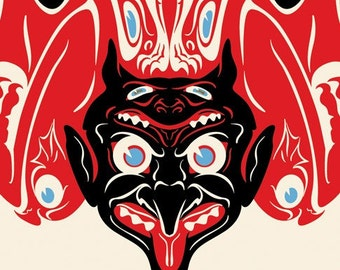 "Devil Krampus Print, Totem Art, Graphic Design, Giclee Print 5""x7"""