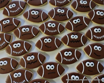 Footballs with attitude- Decorated Sugar cookies for sports parties and birthdays  (#2466)