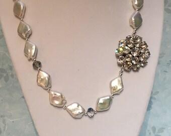 Brooch necklace, natural pearls, vintage brooch