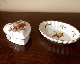 Vintage Spode Blenheim Heart Shaped Trinket Box and Oval Fluted Dish