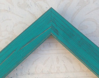 Rustic Turquoise Blue Picture Frame - 4x4, 4x6, 5x5, 5x7, 8x8, 8x10, 8.5x11, 11x14, 16x20, 18x24, 24x30 Beach Cottage Picture Frames, Teal