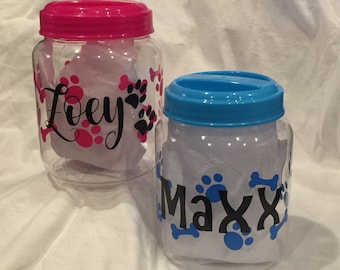 Pet treat container- personalized with your fur babies name. Available in pink or blue