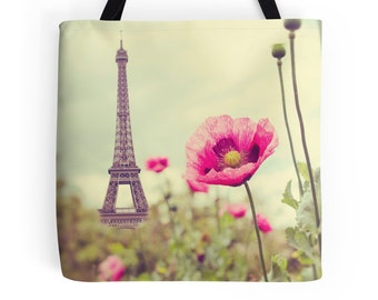 Paris Tote Bag, Eiffel Tower, Poppy, Bohemian, Travel Bag, Nature Photography, Floral, Spring, France, French Tote, Pink, Neutral, Poppies