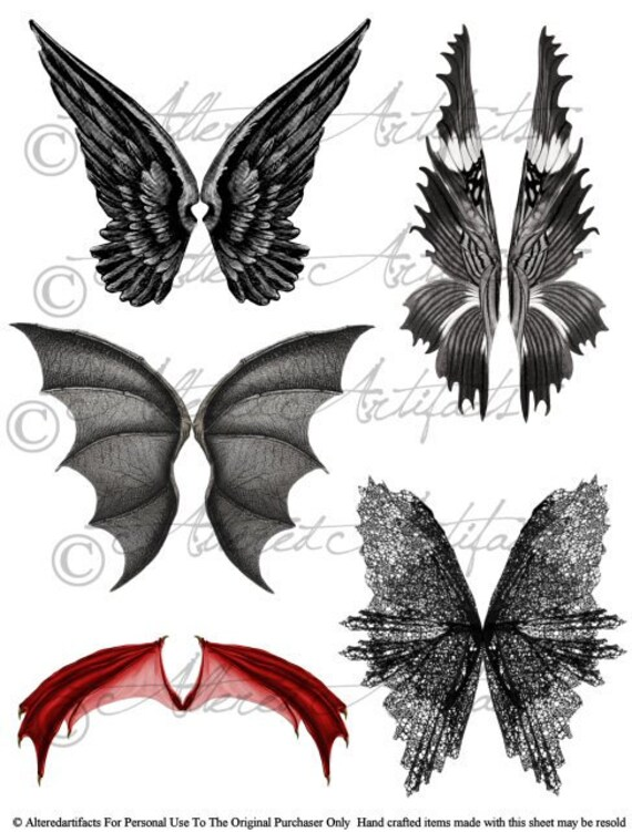 Printable Wings Wicked Witch Scary Fairywings Printable Dragon