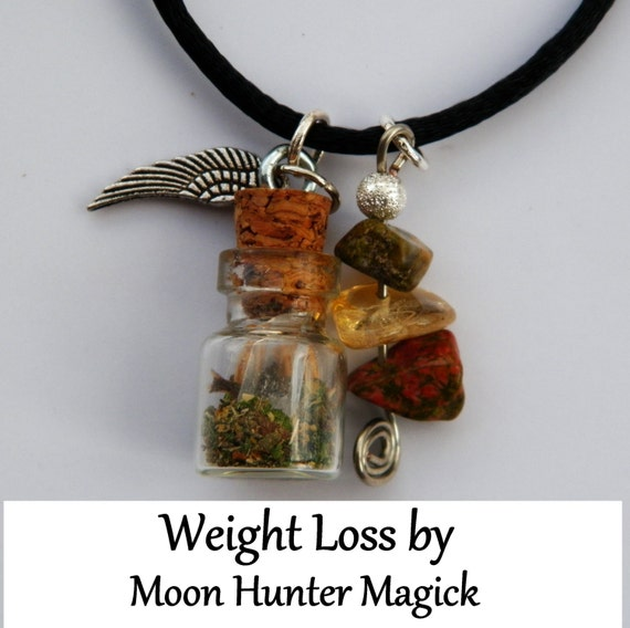Weight Loss Charm Bottle Amulet Necklace Pagan Wicca Reiki Ritual