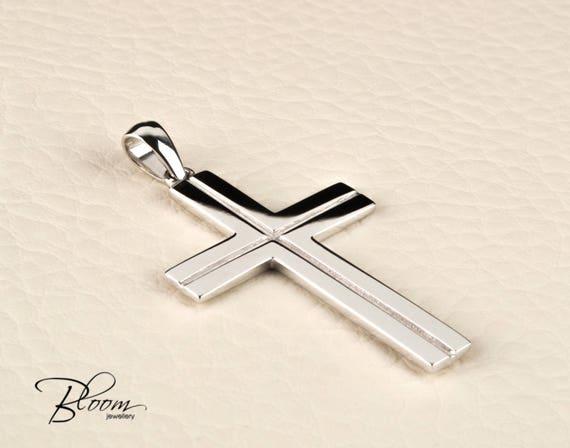 White gold cross pendant for men 14k solid gold cross necklace aloadofball Gallery