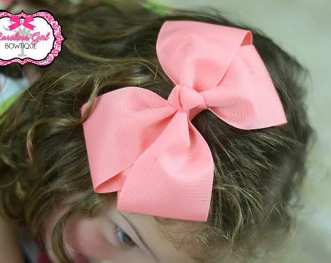 6 in. Coral Hair Bow - XL Hair Bow - Big Hair Bows - Girl Hair Bows