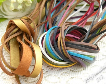 3mm 10Meters Flat Faux Suede PU Leather Cord,DIY Leather String Cord Supplies,Faux Suede Lace,Vegan Suede Cord (24 colors)