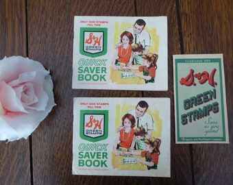 THREE Vintage S&H Green Stamps Saving Stamp Books with Stamps, SH Green Stamps
