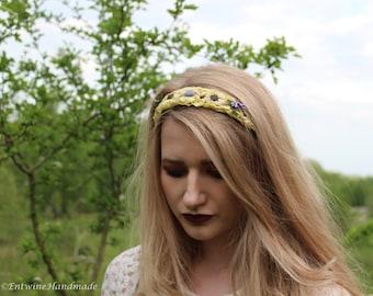 Crochet Lace Headband Boho Hippie Hippy Handmade Hairband Shabby Chic Flower Fairy Whimsical Bridal Brides Maid Flower Girl