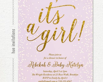 it's a girl purple and gold glitter baby shower invitation, lavender confetti girl baby shower invite, printable baby sprinkle invitation