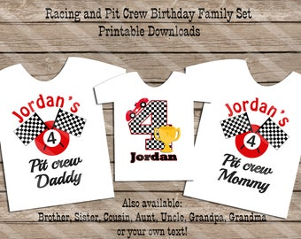 Racing Pit Crew Birthday Family Set Digital Printables for iron-ons, heat transfer, Scrapbooking, Cards, Tags, Invitations, DIY YOU PRINT