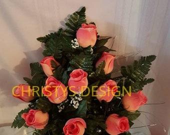 Coral Roses, Durable Cemetery Vase Arrangement