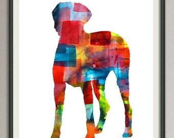 Rhodesian Ridgeback art print watercolor print  silhouette painting print poster wall art decor drawing, dog wall art poster