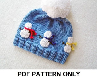 Hat Knitting Pattern - Snowman Hat Pattern - the OLAF Hat (Newborn, Baby, Toddler, Child & Adult sizes incl'd)