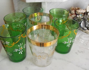 Hand Painted Victorian Panel Glass Antique Tumblers