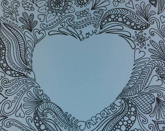 Doodles of the Heart Coloring Pages, a digital download