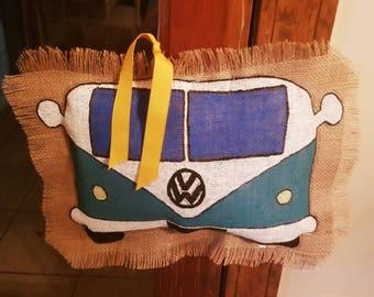 Handpainted VW Van burlap door hanger