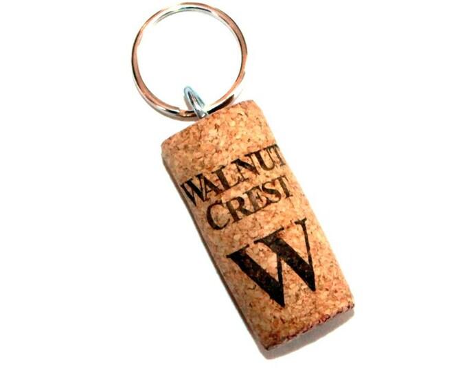 WINE CORK KEYCHAIN, Walnut Crest, Floating, Multiple Key, Bell Art Designs, KC0255/256/257