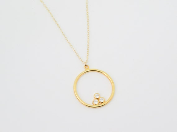 Circle Necklace | Crystal Necklace | Gold Necklace | Boho Jewelry | Coin Necklace | Gold Coin Necklace | Dainty Necklace | Diamond Necklace