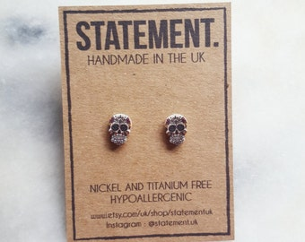Mexican Sugar Skull ( Day of The Dead ) Stud Earrings - 1 pair