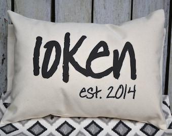 Cotton anniversary, Anniversary Gift idea, housewarming gift, wedding gift, Last name, newlywed gift pillow, 2nd Anniversary gift -loken