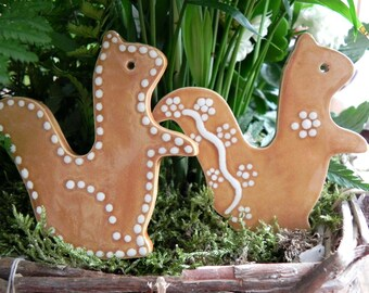 Squirrel Ceramic Christmas Ornaments, 2 Caramel Animal Christmas Tree Ornaments, Squirrel Home Decoration, Animal Pottery