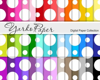 Digital Paper Pack, Big Polka Dot Scrapbook Paper, Digital Background, 42 Sheets, Rainbow Paper, Personal & Commercial Use- Instant Download