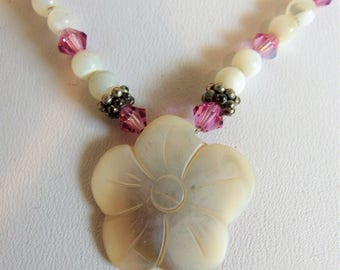 Vintage Carved Mother of Pearl MOP Necklace Jewelry | 1970's Crystal Beads | Vintage Carved Jewellery | Gift Jewelry for Her