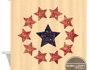 Shower Curtain Art Design  // Americana Primitive Flag Circle of Stars Blue Red Tan // Custom Bathroom Decor //12 buttonhole-top